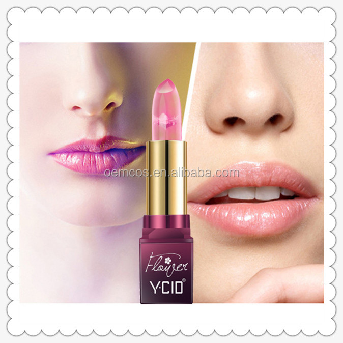 2017 New Natural Milk Silk Slip Crystal Flower Lipstick Temperature Change Waterproof Nutritious Makeup Cosmetic lipstick