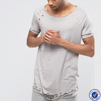 100% cotton wholesale scoop neck mens super longline blank bamboo distressed t shirts