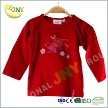 Factory price round neck long sleeve flower printing red baby t shirts wholesale