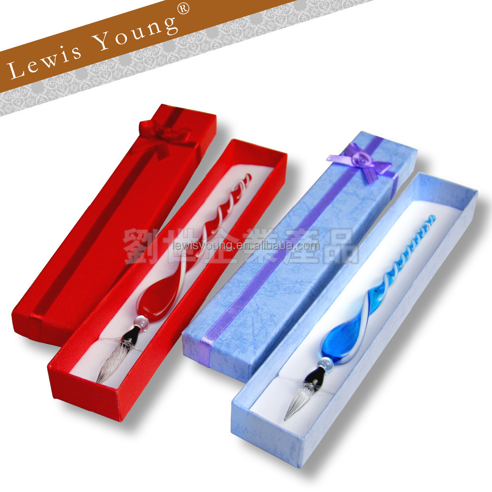Vintage Retro Glass Signature Pen Elegant Crystal Dip Sign Pen With Gift Box