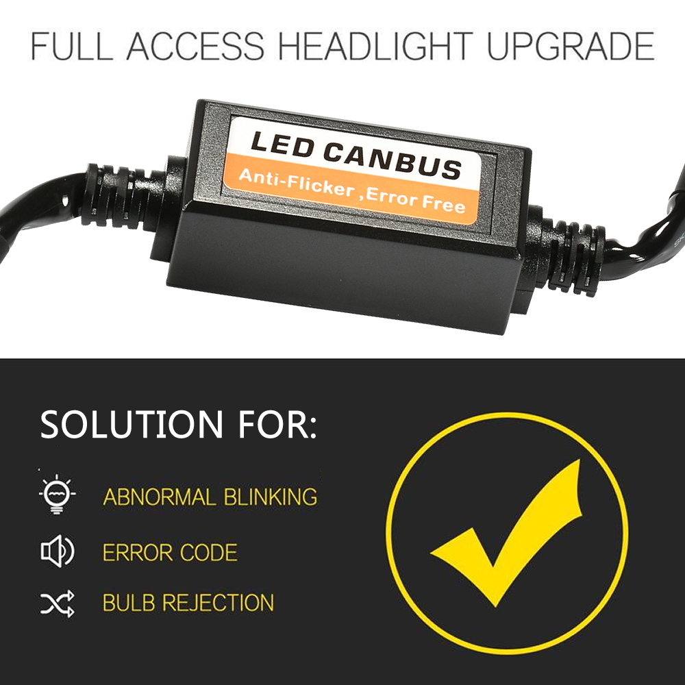 2pcs LED Car Headlight Bulb Kits H4 H7 H1 H11 9006 9007 Adapter Anti-Flicker Error Free LED Canbus Decoder  for SUV Fog Lamps
