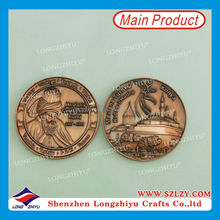 Customized design antique copper coins medal medallion dealer,zinc alloy 3D die casting coin,old coin metal memory coin maker