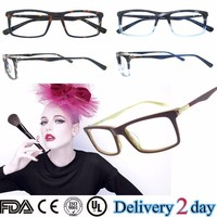 Italian eyewear brands eyewear 2015 fashion blue striped acetate optical frame CE FDA UL metal pin red acetate frame B141295