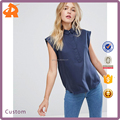 OEM woman latest blouse designs,hot selling simiple chiffon normal blouse design tops with collar