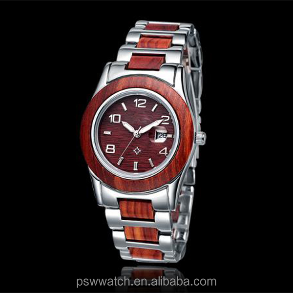 2017 hot sale stainless steel and red sandal wood watch custom logo brand men watch
