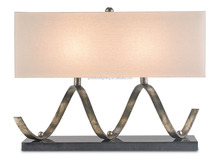 (C)UL&ETL listed Modern pyrite bronze/black &off-white Linen shade cold rolled metal sheet hotel table lamp/desk lamp