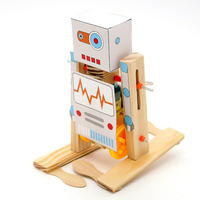 2018 new arrival creative design intelligence wooden DIY science electric walking robot toy for kids