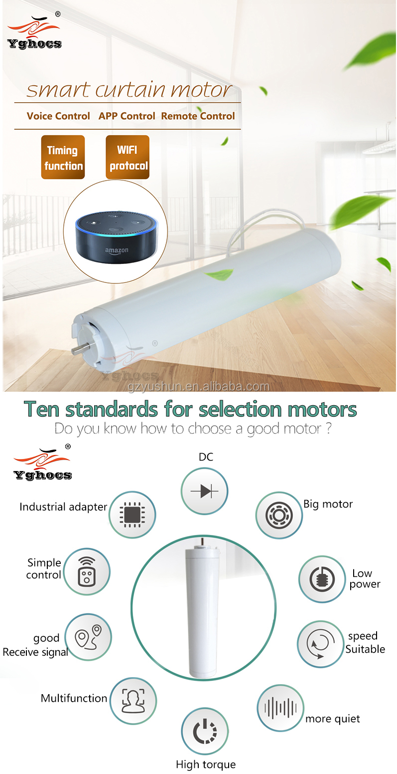 super quiet automatic curtain system 50/60Hz DC curtain motor , Smart Home System tuya wifi curtain motor