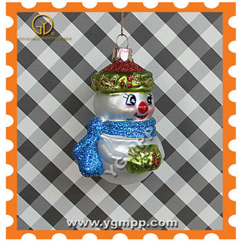 glass snowman with blue scarf