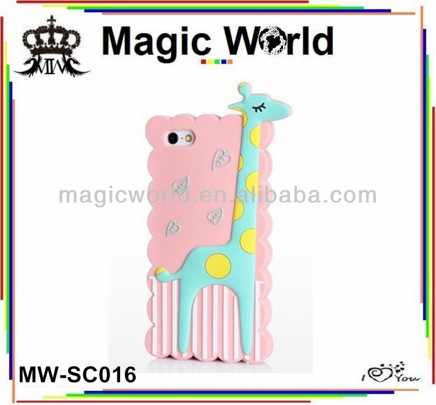 Promotional Gifts 3D Giraffe Silicone Phone Case For iPhone 5 5S
