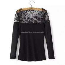 monroo 2018 fancy stitching design women t-shirt neck designs for ladies tops
