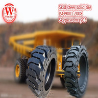 Hot sale 10-16.5 pneu bobcat skid steer solid tire,12-16.5 construction tire with 8 split rim wheel