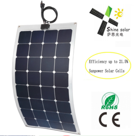 long life flexible solar panel 12v 100 watts with fibreglass material