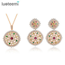 LUOTEEMI Jewelry Fashion Women Luxury Rose Gold Multi Cubic Zircon Heavy Earrings Necklace Bridal Wedding Fine Jewelry Sets