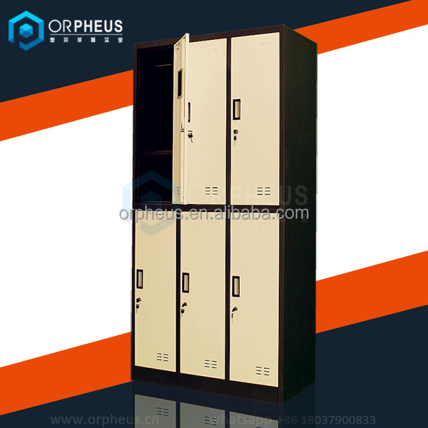 China modern furniture closet organizers GYM Locker 6 Door corner wardrobe