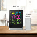 Amazon Hot Selling Digital Lcd Indoor Hygrometer Clock Alarm Temperature Humidity Meter Gauge Thermometer Weather Station