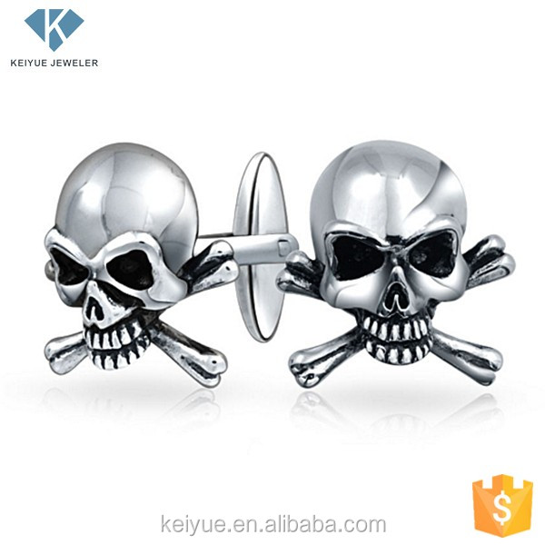 Custom mens cufflinks cool skull cuff link tie clip for men wholesale