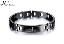 Comercio al por mayor Inoxidable del Mens Negro Biblia Cruz Pulsera