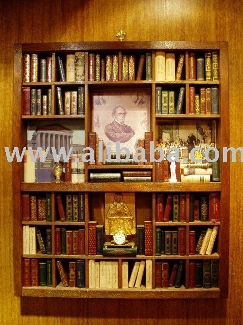 Miniaturas de madera bibliotecas artesan a madera - Bibliotecas de madera ...