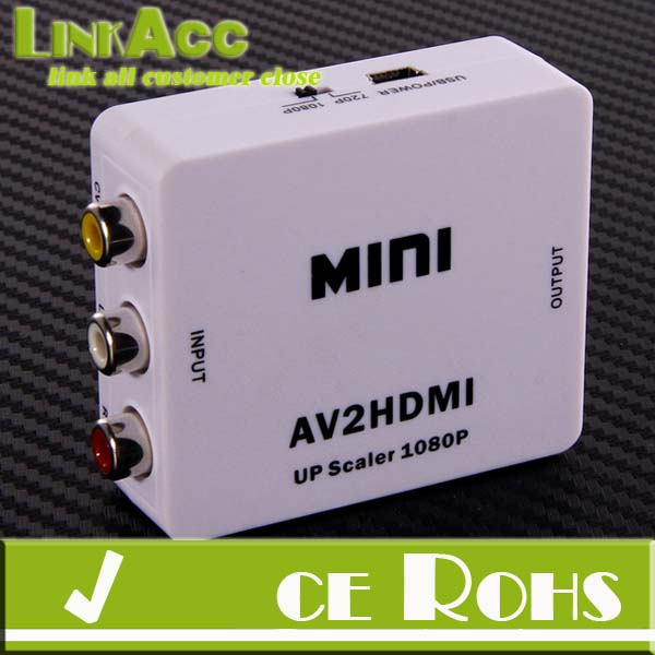 Mini CVBS AV RCA to HDMI HD 720P/1080P Video Adapter Converter For VCR/DVD PS3