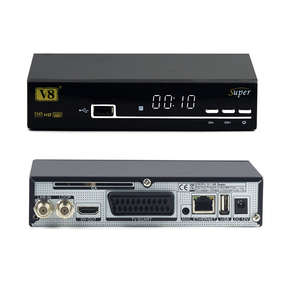 Full powervu, cccam, bisskey, IPTV supported Cheap V8 super DVB-S2 satellite tv receiver on hot sale better than opennbox s10