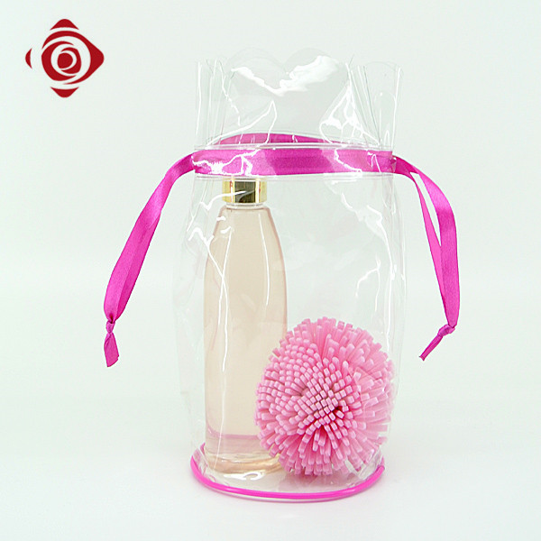Unique design drawstring pvc transparent makeup bag cosmetic