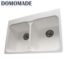 New high quality undercounter small knee operated hand washing double bowl sink