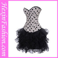 Wholesale New Fashion Cheap Sexy 3PC White And Black Dot See Through Corset Dress
