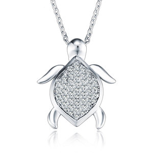 New Designs Micro Pave Diamond Jewelry Charm Silver Sea Gemstone Turtle Pendant