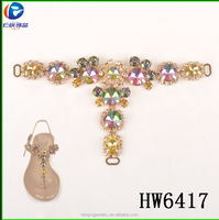 Hw 6417Brazing colorful Stones Shoe Decoration Accessories For Woman Shoe Strass Chain