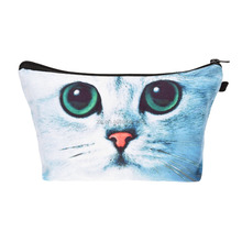cheap 3d print green eye cat makeup bag with compartment