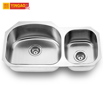 501L cheap outdoor corner stainless steel double bowl round kitchen sink