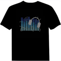2016 el thirts sound activated flashing t-shirt light up down music