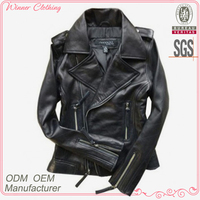 Women clothing manufacturing short style leather ladies jackets