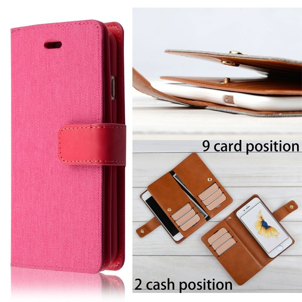 C&T TPU Back Cover&Multiple Card Slots Cash Compartment PU Leather Wallet Case for iPhone 6