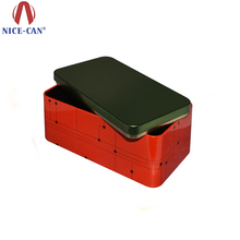 "Red and Black Rectangular German Tin Box 10"" Tin Box for Switch or Gift Card Box"