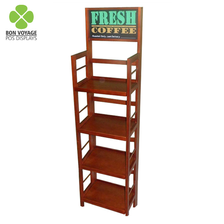 High quality 4 shelves tall wood grocery store display for food