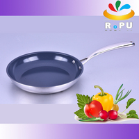No oil good quality 3ply stainless steel fry pan with ceramic coating