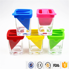 180ml Clear Novelty Double layer Highball Glass Drinking Whisky Glass Of Cup Glassware With Colorfl Silicone Ice Mold