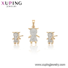 64910 Xuping latest designs Cute pattern multi color gold plated jewelry sets