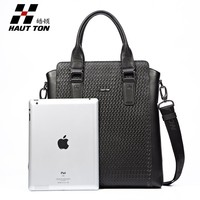 New Style High Quality 100% Cowhide Woven Leather Shoulder Messenger Bag for Men with Handle