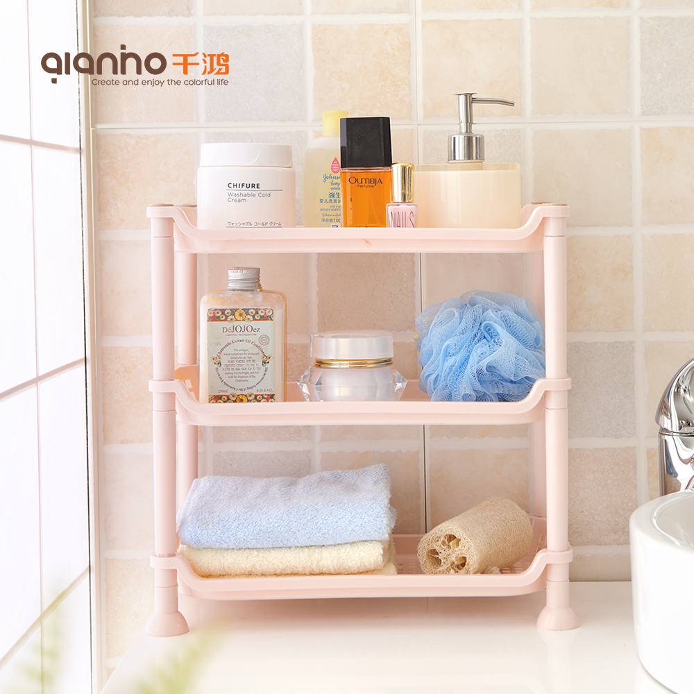 China multifunctional organizer home kitchen storage shelf shower basket plastic bath rack with wheels