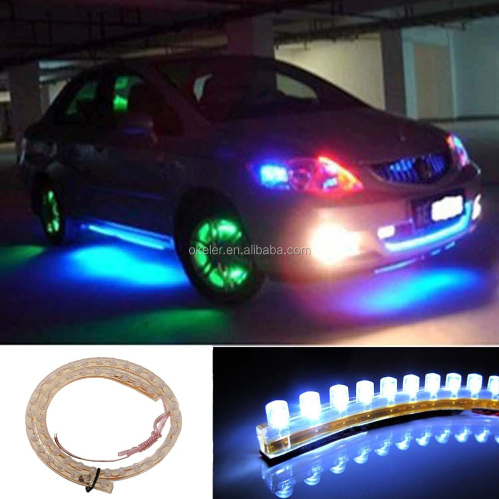DC12V 48cm 48 LED Waterproof PVC LED Neon Flexible LED Car Light Strip White