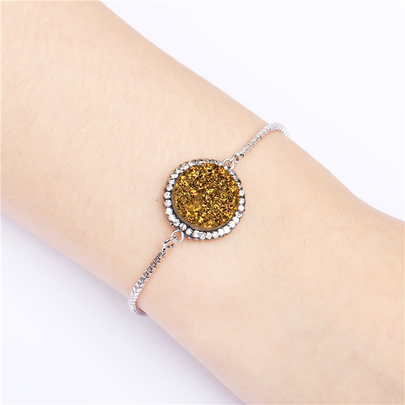 Fashion Adjustable Chain Women Jewellery Accessories Natural Agate Druzy Stone Custom Bangle Bracelet