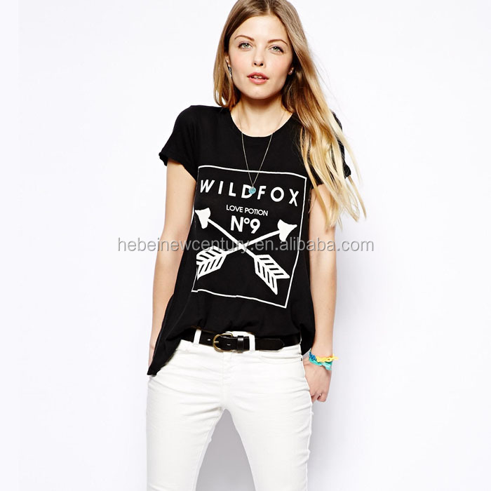 Love potion NO9 black round collar double arrow female T-shirt with short sleeves t shirt for women