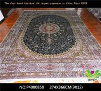 Factory price muslim hand knotted pure silk carpet bathroom use rib carpet