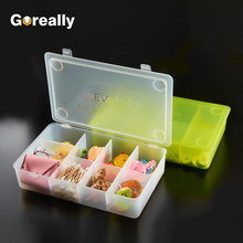 Small mini pp plastic transparent multi compartment divider storage box with lid