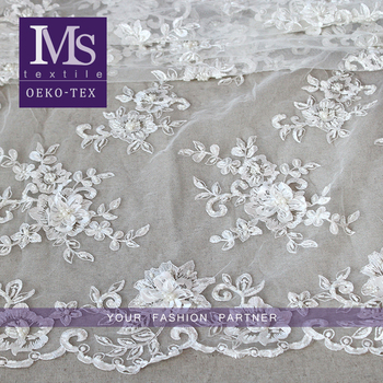 Pure white 3d flower lace bride pearls flower embroidery lace fabric