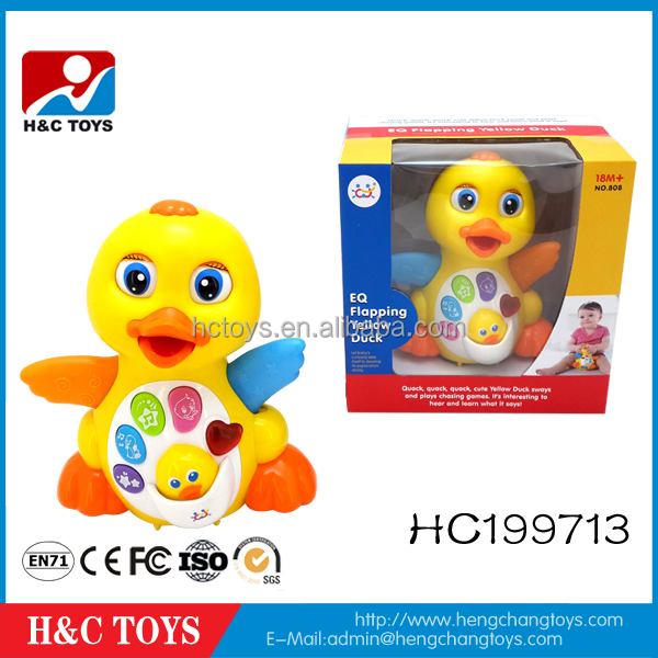 Multifunction EQ Swing Yellow Duck Toy With Music And Light Baby Educational Toys HC199713
