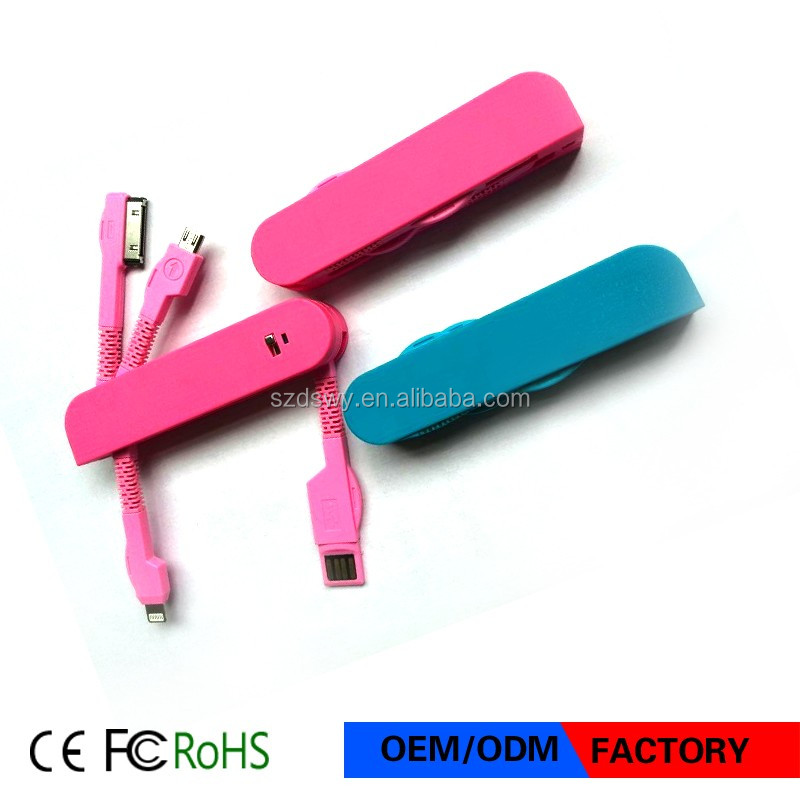 Factory Price 4 in 1 USB Cabel portable swiss knife usb charger adapter made in china